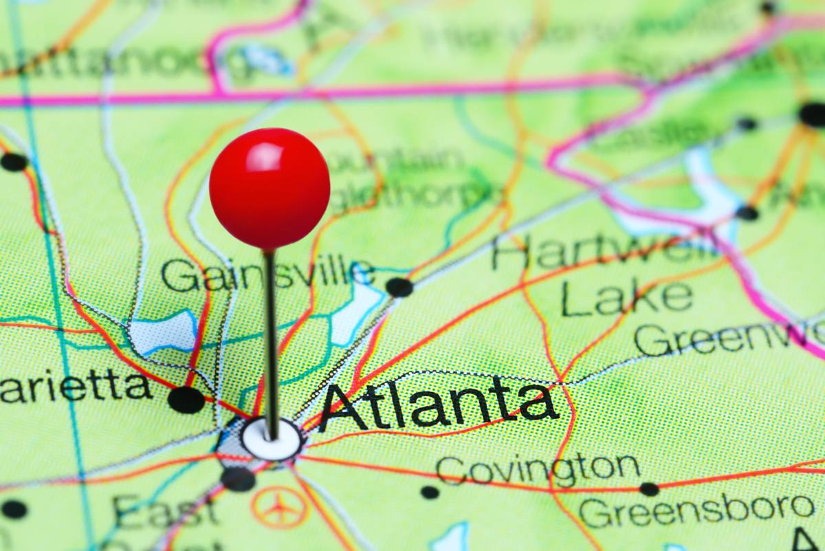 Atlanta Pinned on Map Georgia